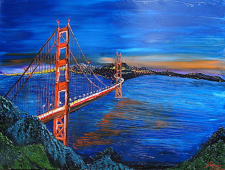 The Golden Gate Bridge At Sunset 1 by Portland Art Creations