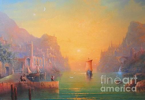 The Grey Havens. The Gulls Lament.  Oil on Canvas by Joe  Gilronan