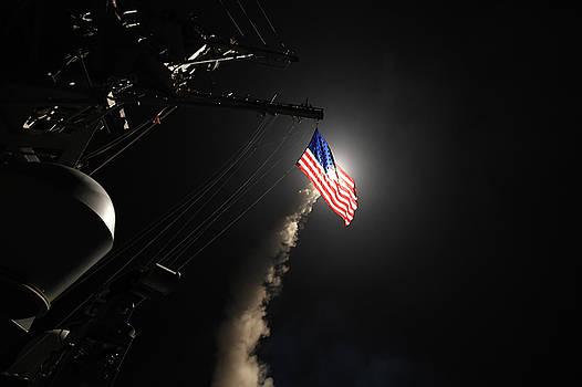 The guided missile destroyer uss porter DDG78 conducts strike operations by Paul Fearn