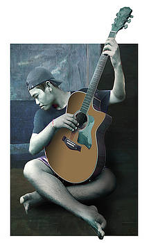 The guitar player, homage to Picasso by Dray Van Beeck