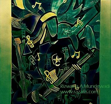 Rizwana Mundewadi - The Guitarist Green cubism