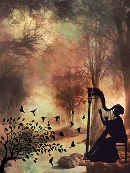 The Harpist in the Forest by Linda Ouellette