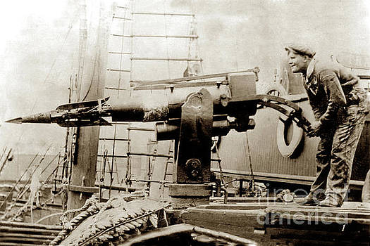 The Harpoon Gun Gun on a whaling ship 1915 by California Views Mr Pat Hathaway Archives