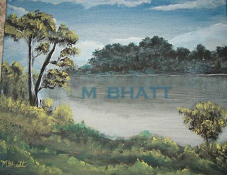 The hilly river bank by M Bhatt