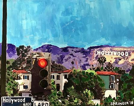 The Hollywood Sign from Hollywood Boulevard by Gary Springer