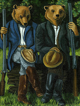 The Hunters - bears painting by Linda Apple