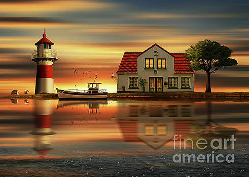 The idyll at the house of the lighthouse keeper by Monika Juengling