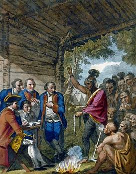 West Benjamin - The Indians Giving A Talk To Colonel Bouquet In A Conference At A Council Fire Near His Camp On