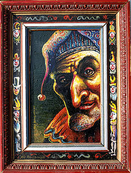 The Jester With Clowns painted on frame by Ari Roussimoff