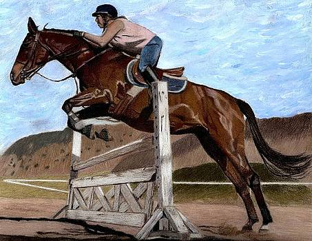 The Jumper - Horse and Rider Painting by Patricia Barmatz
