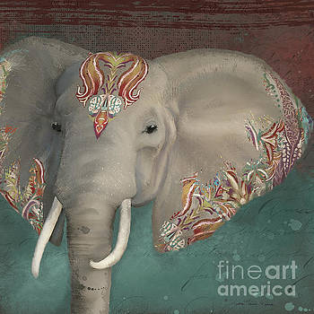 The King - African Bull Elephant - Kashmir Paisley Tribal Pattern Safari Home Decor by Audrey Jeanne Roberts