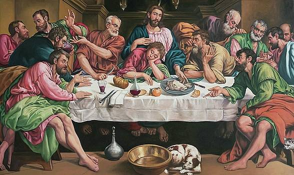The Last Supper 1546 by Jacopo Bassano by William Roberts