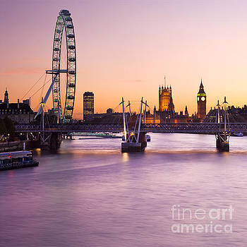 The London Eye and the Houses of Parliament, London, England. by Justin Foulkes