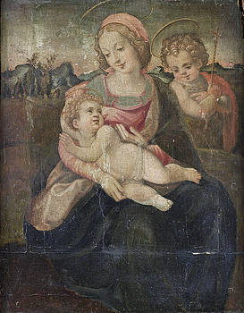 Circle of Francesco del Brina - The Madonna and Child with the Infant Saint John the Baptist before an open landscape