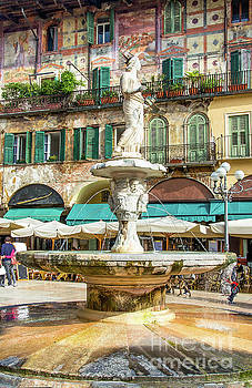 the Madonna Verona fountain in Piazza delle Erbe square in the V by Luca Lorenzelli