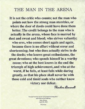 The Man In The Arena by Theodore Roosevelt on Parchment by Desiderata Gallery