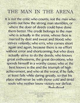The Man In The Arena quote by Theodore Roosevelt on Raw Linen by Desiderata Gallery