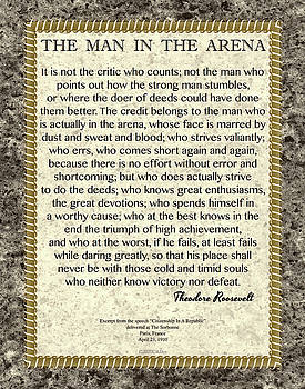 The Man In The Arena Roosevelt Quote in Chains and Marble by Desiderata Gallery