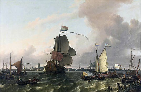 Ludolf Bakhuysen - The Man-of-War Brielle on the River Maas off Rotterdam
