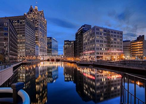 The Milwaukee River at Twilight near the Wells Street Bridge by John December