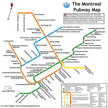The Montreal Pubway Map by Unquestionable Taste