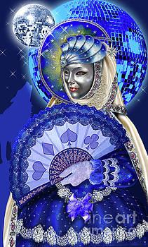 The Moon from Venetian Carnival Tarot by Roxana Paul