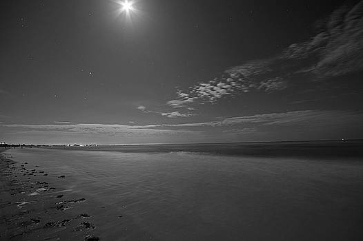 Toby McGuire - The moon over Fort Myers Beach Fort Myers Florida Waves Black and White