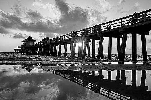 Toby McGuire - Naples pier at sunset Naples Florida Black and White