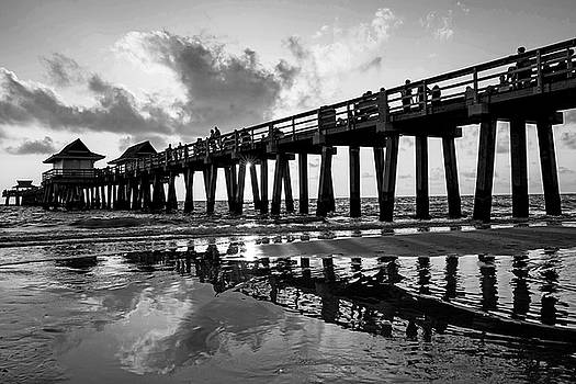 Toby McGuire - Naples pier at sunset Naples Florida Ripples Black and White