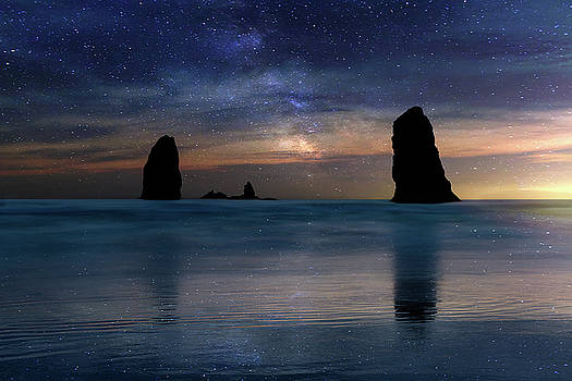 The Needles Rocks Under Starry Night Sky by David Gn