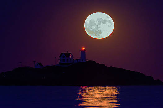 The Nubble and the Full Moon by Rick Berk
