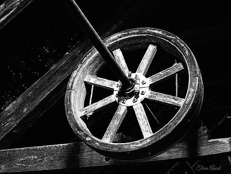 The Old Wheel in Black and White by Trina Ansel