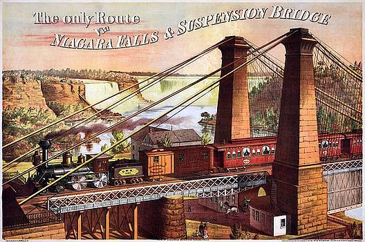 The only Route via Niagara Falls Suspension Bridge, advertising poster, 1876 by Vintage Printery