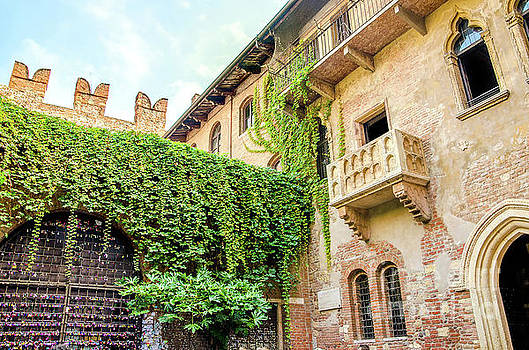 The original Romeo and Juliet balcony located in Verona, Italy by Luca Lorenzelli