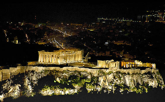 The Parthenon at Night by Lynn Andrews