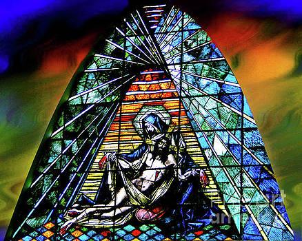 The Pieta In Stained Glass II - Giron Ecuador by Al Bourassa