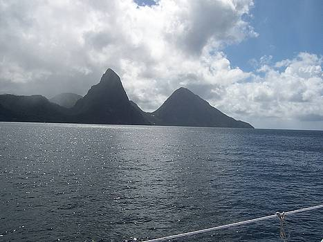 The Pitons St Lucia by David Button