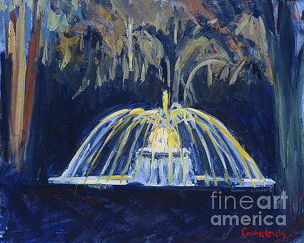 The Preserve Fountain at Night by Candace Lovely