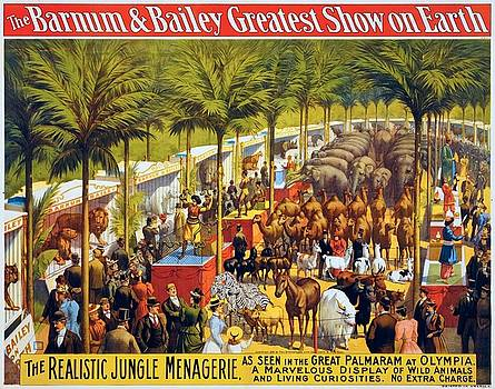 The realistic jungle menagerie, circus poster for, 1897 by Vintage Printery