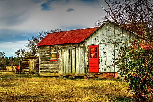 The Red Door - Farm Landscape by Barry Jones