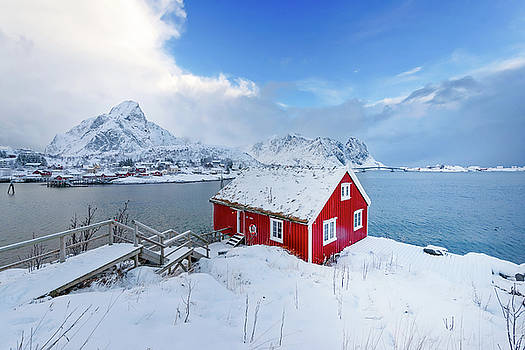 The Red House Near The Fjord by Philippe Sainte-Laudy