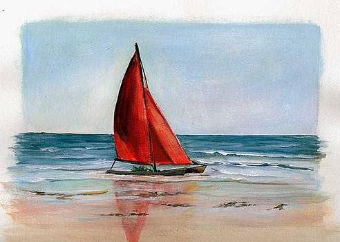 The Red Sail Boat by Sue Coley
