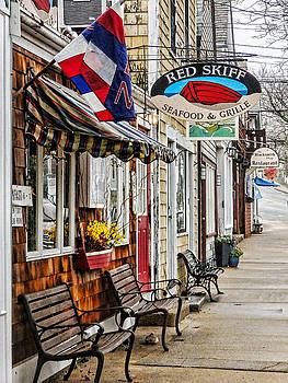 The Red Skiff in Rockport MA by Nancy De Flon
