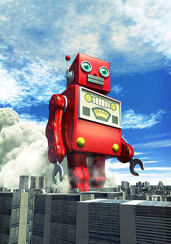 The Red Tin Robot and the City by Luca Oleastri