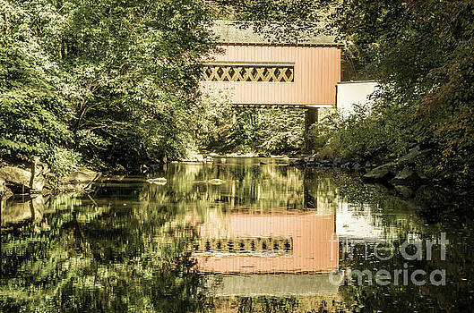 The Reflection of Wooddale Covered Bridge Aged by Melissa Fague