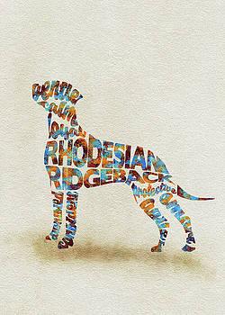 The Rhodesian Ridgeback Dog Watercolor Painting / Typographic Art by Ayse and Deniz