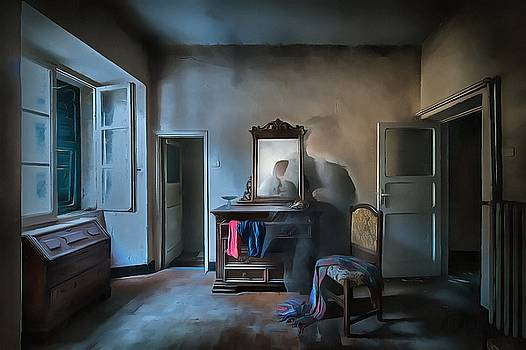 THE ROOM OF THE CASTLE OF THE PHANTOM OF THE MIRROR paint by Enrico Pelos