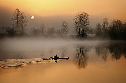 the Rower in the Mist by Detlef Klahm
