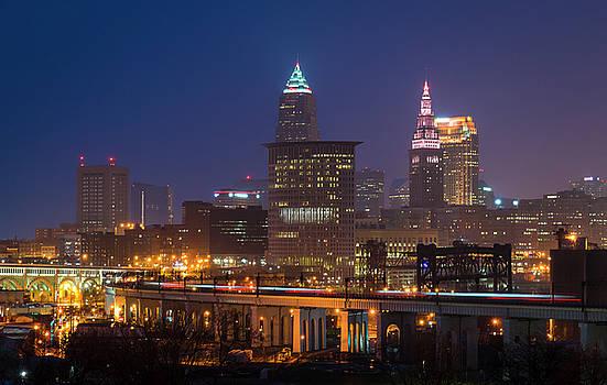 The RTA zooms through the Cleveland skyline by Matt Shiffler