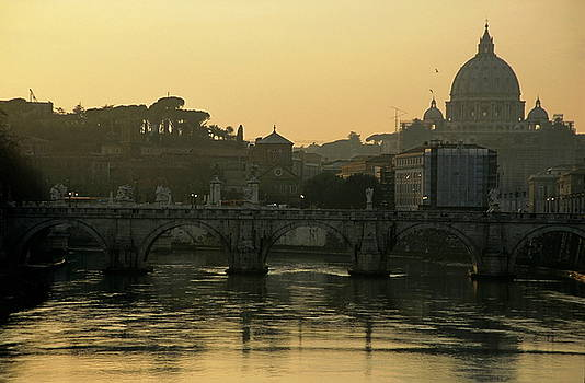 Sami Sarkis - The Sant Angelo Bridge and the Papal Basilica of Saint Peter at sunset in Vatican City